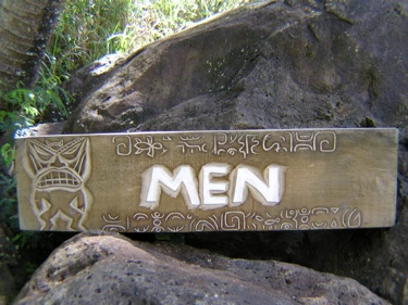 Aged Men Tiki Sign Hand Carved Bathroom Decor