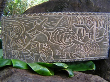 Across Molokai Channel King Kamehameha Hand Carved Storyboard