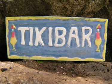 Aged Tiki Bar Sign Hand Carved Hand Painted Decor