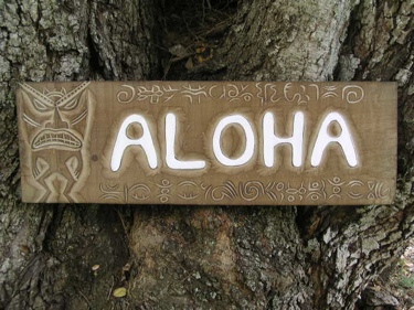 Aloha Tiki Sign W Petroglyph Surf Decor