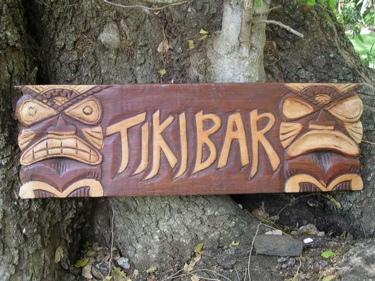 Tiki Bar Tiki Sign 24 Brown Hand Carved Painted Hut Decor