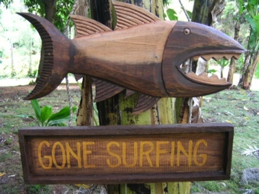 Gone Surfing Shark Attack Sign Surf Decor-Tiki Bar Decor