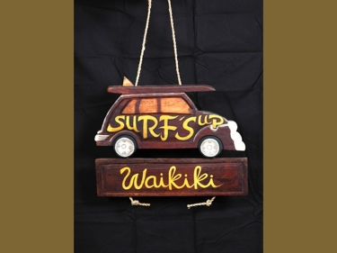 Surf'S Up Waikiki Woody Car Sign Tiki Bar Decor