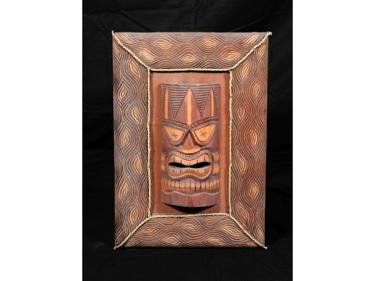Framed Tiki Mask 22 X 15 Island Decor