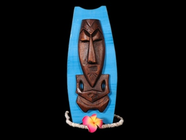 Easter Island Tiki Shield 16 Blue Background