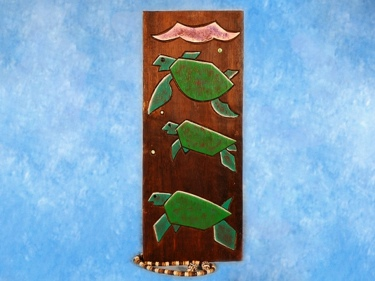Hawaiian Turtles Relief 20 Carved Painted Oceanic Art