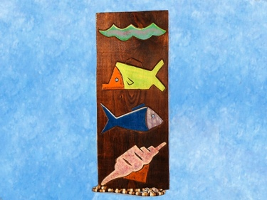 Fish Sea Shell Relief 12 Carved Painted Oceanic Art