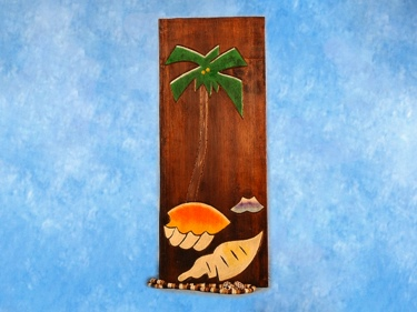 Palm Sea Shells Relief 12 Carved Painted Coastal Decor