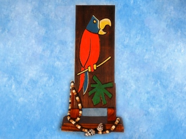 Parrot Palm Leaf Relief 12 Carved Painted Tropical Decor