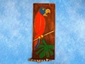 Bird Palm Leaf Relief 20 Carved Painted Oceanic Art