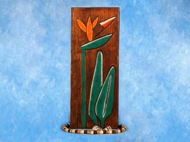 Bird Of Paradise Relief 12 Carved Painted Oceanic Art