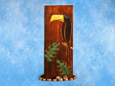 Bird Monstera Leaf Relief 20 Carved Painted Oceanic Art