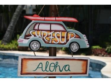 Surf'S Up Aloha Woody Car Sign Surf Decor