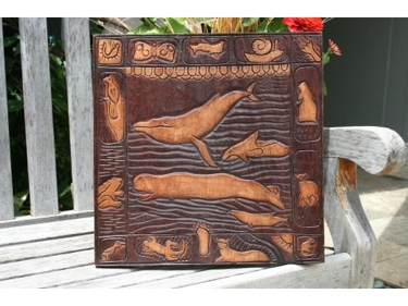 Whale Scene Antique Finish Wooden Relief