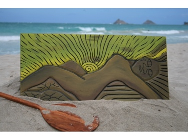 The Mokulua'S Goddess 30 X 15 Primitive Tiki Art