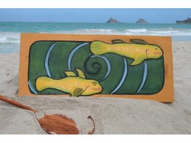 Hawaiian Sea Bass Koru 30 X 15 Primitive Tiki Art