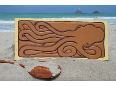 Giant Hawaiian Octopus He'E 30 X 15 Primitive Tiki Art