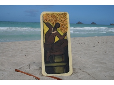 The Hawaiian Warrior God Of The Sun 30 X 15 Primitive Tiki Art