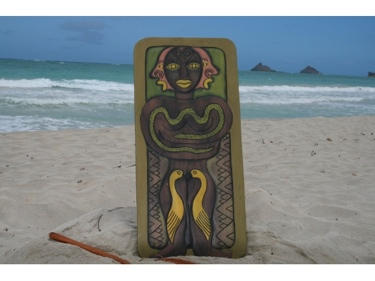 The Hawaiian Chief Human Strength 30 X 15 Primitive Tiki Art