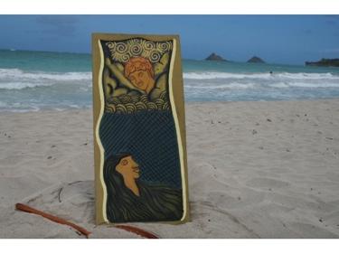 Hawaiian God: Pele Maui 30 X 15 Primitive Tiki Art
