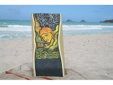 Over The Rainbow God Maui 30 X 15 Primitive Tiki Art