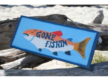 Gone Fishin' Nautical Sign 14 Lake House Decor