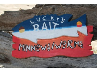 Lucky'S Bait Minnows-Worms Lake Sign 14 Lake House Decor