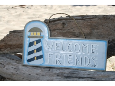 Welcome Friends Lighthouse Sign 14 Nautical Lighthouse Decor