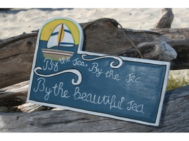 By The Sea By The Sea Sail Boat Sign 14 Nautical Lighthouse Decor