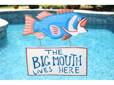 The Big Mouth Lives Here Lake House Sign 18 Coastal Decor