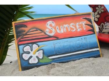 Sunset Beach Surf Panel 15 X 12 Carved Paintedsurf Decor