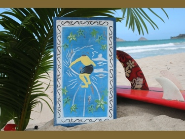 Gerry Lopez Pipeline Carved Painted Relief 20Surf Decor