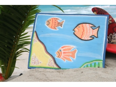 Fish Sea Treasures Panel 16 Carved Painted Nautical Decor