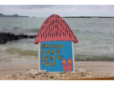 Pink Please Remove Your Slippers Hut Sign 12 Hawaii Gifts