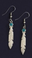 Pewter Feather With Turquoise Earrings