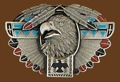 Thunderbird Totem/Feather Belt Buckle 3-3/4 x 2-1/4 a