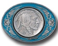 Indianhead blue Enamel Belt Buckle 3-1/2 x 2-1/2