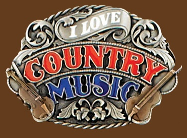 I love Country Music Belt Buckle Enamel 3-1/4 x 2-1/4
