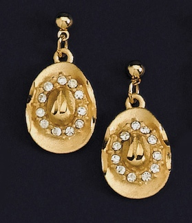 Gold Hat Earrings with Austrian Crystals