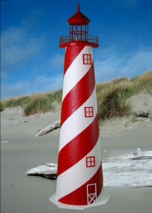 4 Foot White Shoal E-Line Stucco Lighthouse