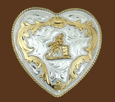 German Silver Barrel Racing Heart Buckle 3-1/4 x 3