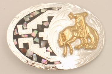 Small Bucking Bronco German Silver & Abalone Buckle 3 x 2