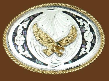 Abalone & German Silver Eagle Belt Buckle 4 x 3