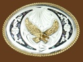 Abalone & German Silver Eagle Belt Buckle 4 x 3