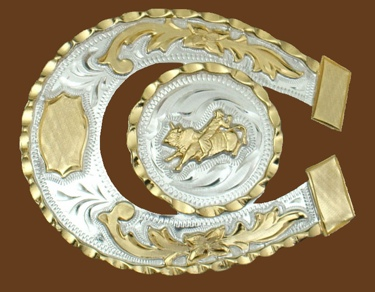 Horseshoe Shaped Bullrider German Silver Belt Buckle 3-1/2 x 3