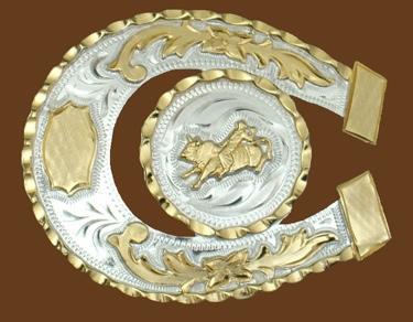 Horseshoe Shaped Bullrider German Silver Belt Buckle 3-1/2 x 3