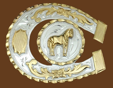 Horseshoe Shaped Standing Horse German silver Belt Buckle 3-1/2 x 3