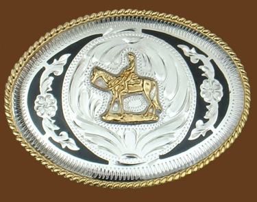 Horse & Rider German Silver Buckle/Black Trim 4 x 3