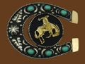 German Silver Bronco & Horseshoe Belt Buckle w/ Turquoise 3-1/4 x 2-3/4