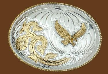German Silver Eagle Belt Buckle 5 x 3-3/4